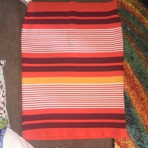New York and Company 7th Ave Orange Striped Skirt